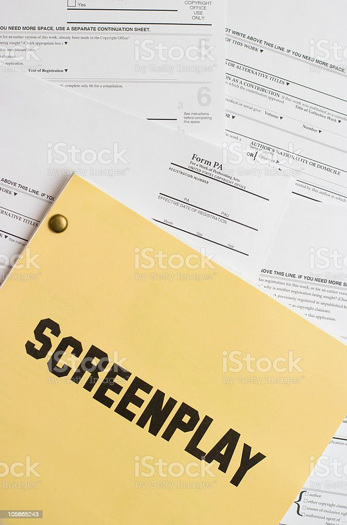 Screenplay Copyright Registration stock photo
