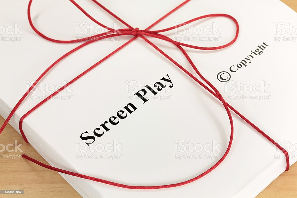 Screenplay Script with Red Twine stock photo
