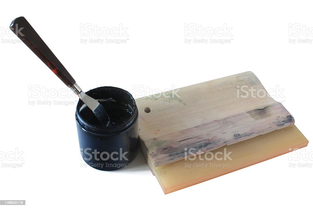 screenprinting squeegee and ink royalty-free stock photo