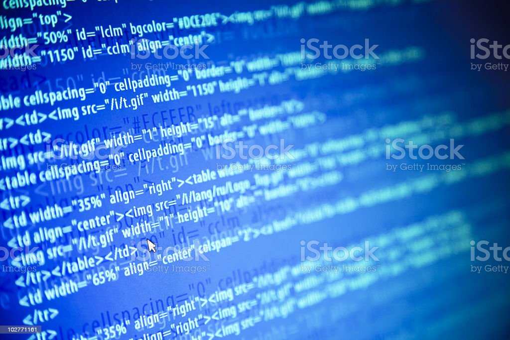 Screens with program web code and mouse / monitor background royalty-free stock photo