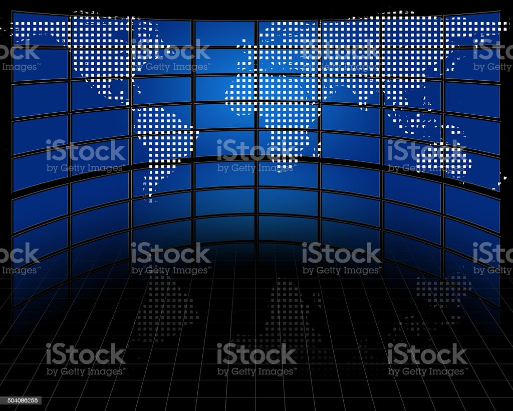 Screens with projected map of earth stock photo