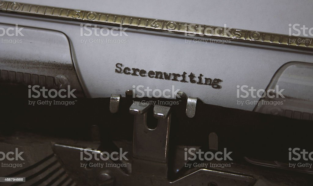 Screenwriting title typed with an old typewriter stock photo