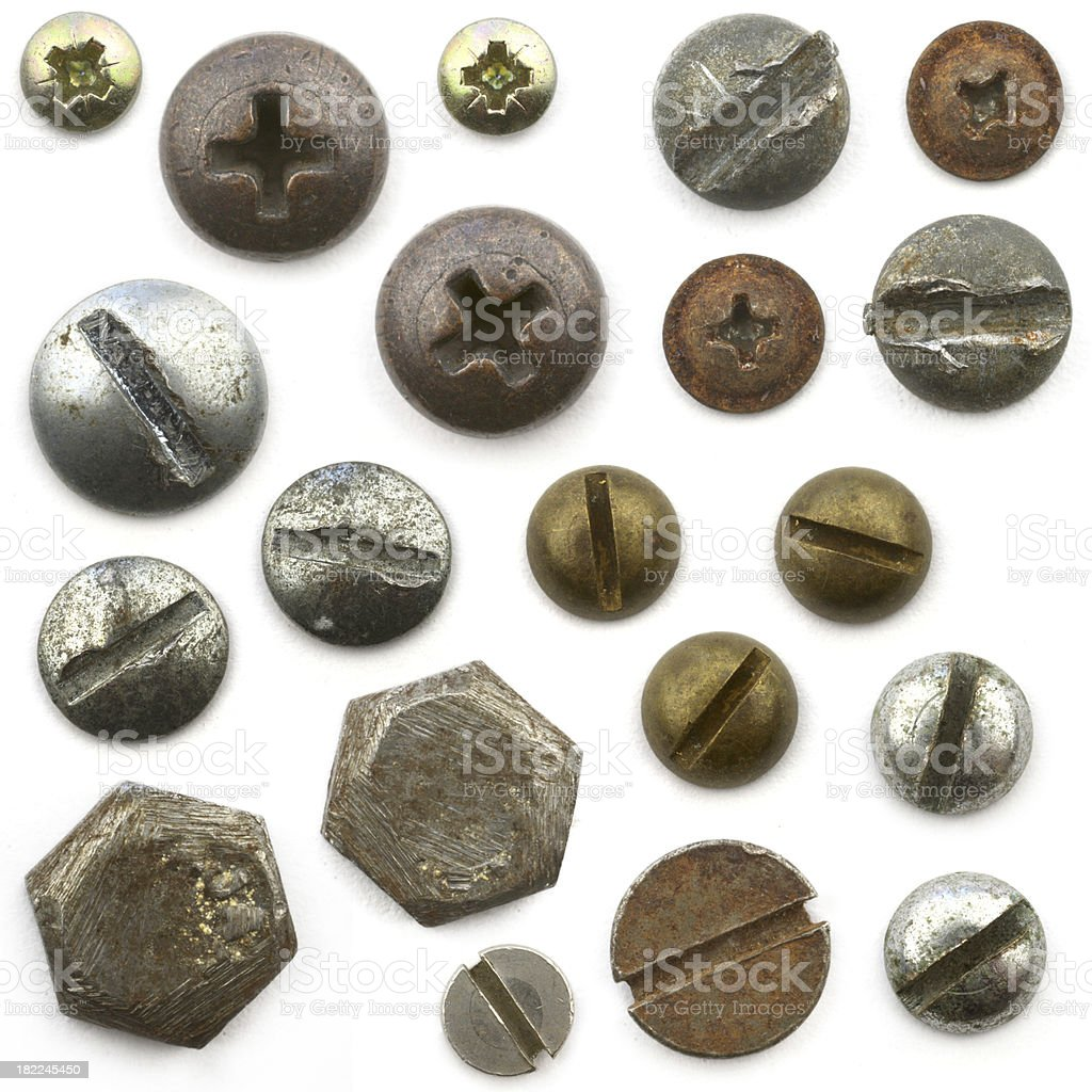 Screw  and bolt heads royalty-free stock photo