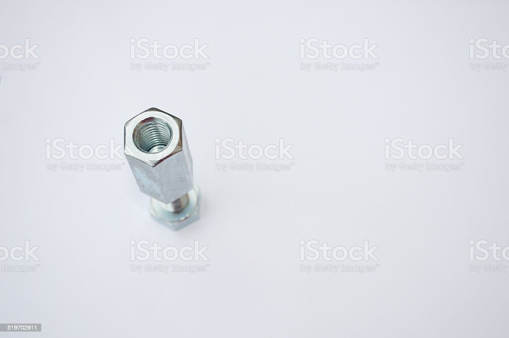 screw and long nut, work tools royalty-free stock photo