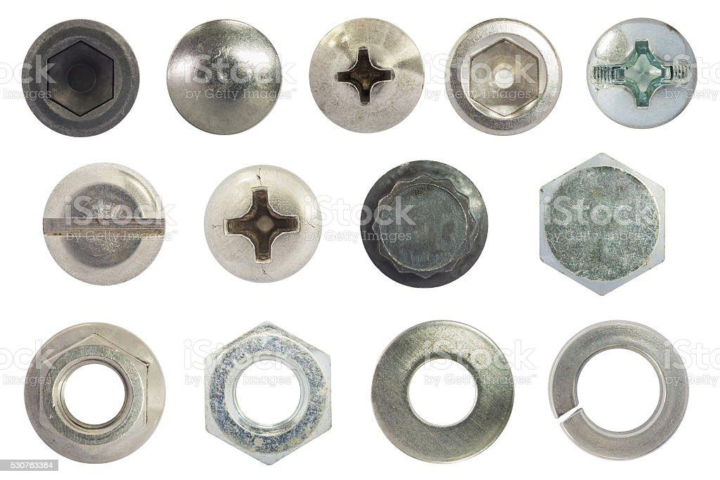 screw, bolt, stud, nut, washer, spring washer isolate on white stock photo