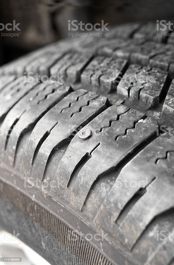 Screw in Car Tire royalty-free stock photo