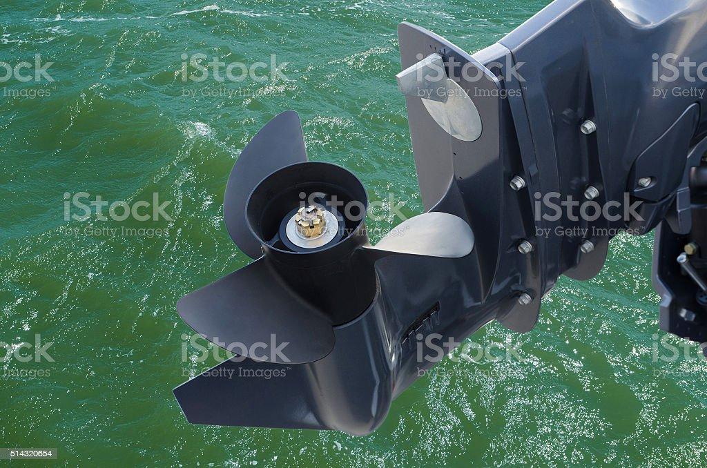 screw of motor boat on sea  background stock photo