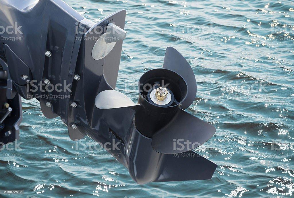 screw of motor boat stock photo