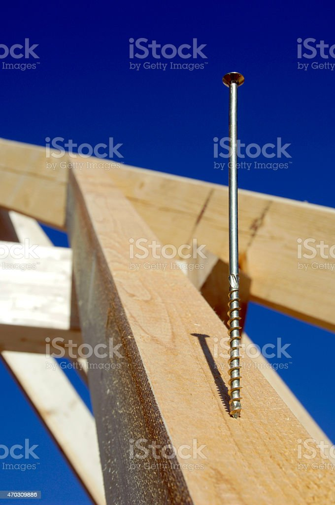 Screw on wood stock photo