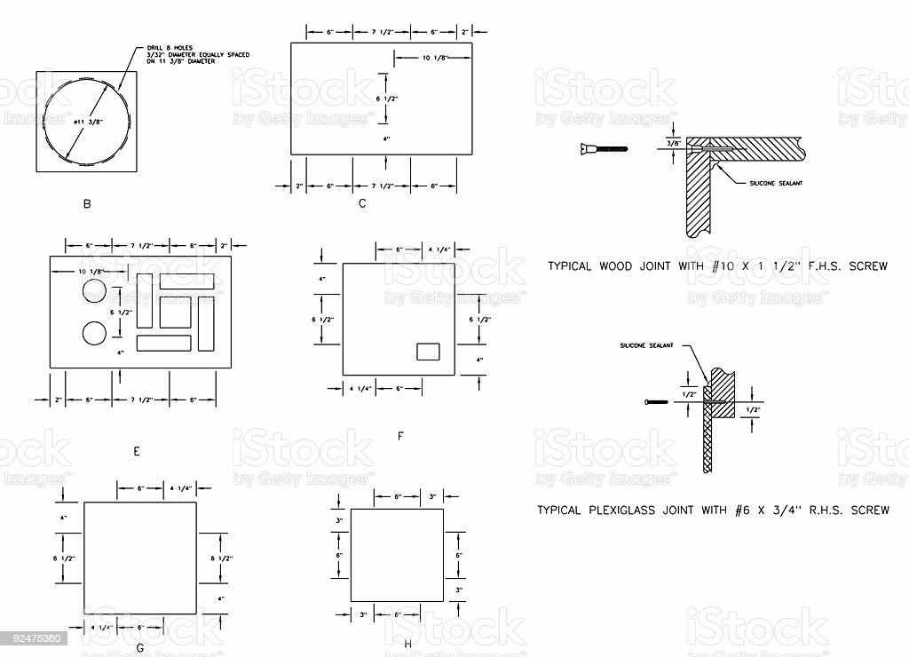 Screw placement layout plan stock photo