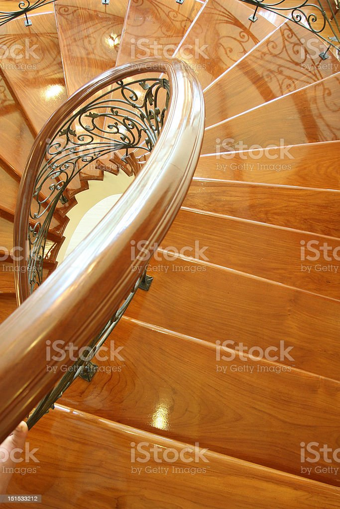 screw wooden stair case royalty-free stock photo