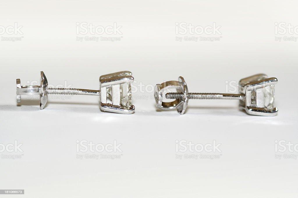 Screwback Diamond Earrings royalty-free stock photo