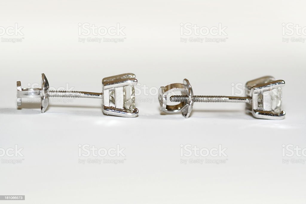 Screwback Diamond Earrings stock photo