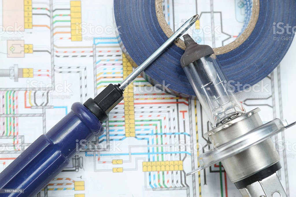Screw-driver, car headlight lamp and insulating tape roll royalty-free stock photo