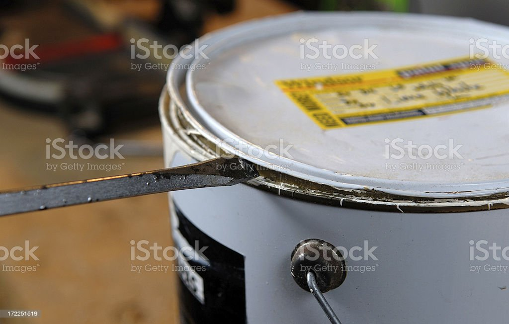 Screwdriver Opening Paint Tin royalty-free stock photo