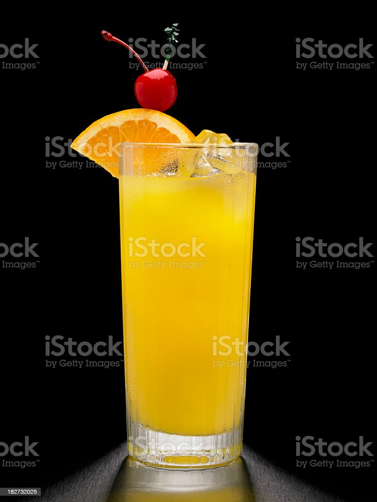 Screwdriver or Vodka and Orange Cocktail on black background stock photo