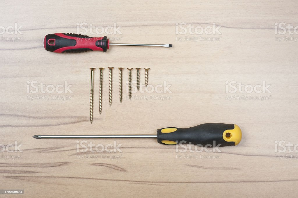 Screwdrivers with screws stock photo