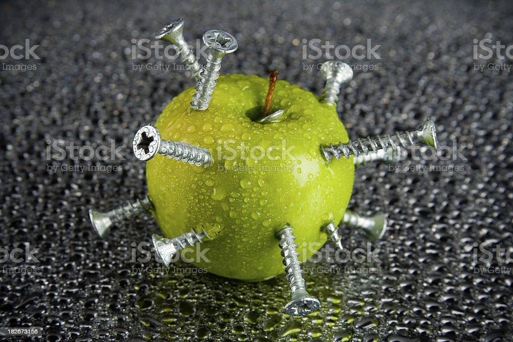 Screwed apple royalty-free stock photo