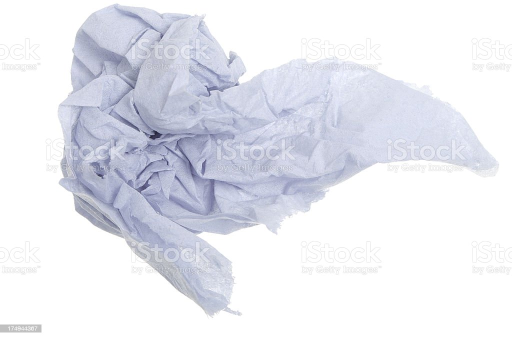 Screwed Up Piece Of Blue Industrial Type Wiper Paper royalty-free stock photo