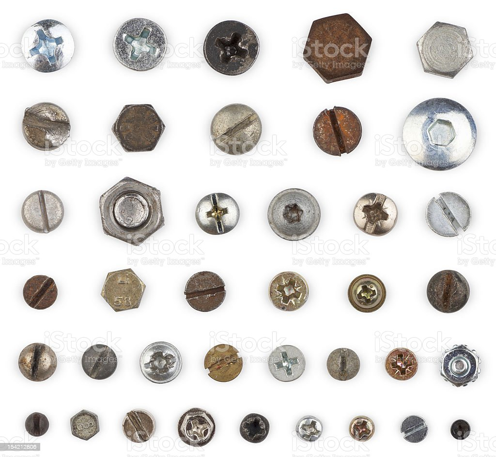 Screws and Bolts (clipping path) royalty-free stock photo