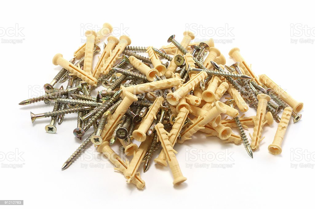 screws and dowels stock photo
