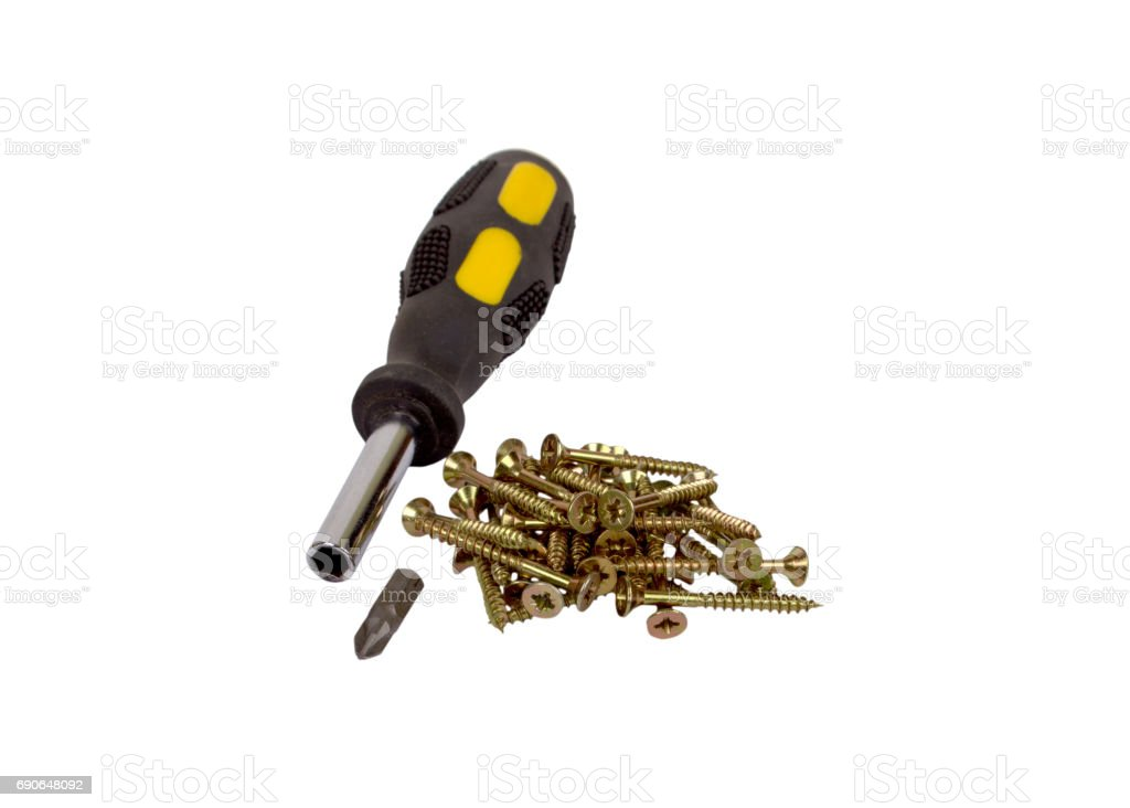 Screws and screwdriver isolated stock photo