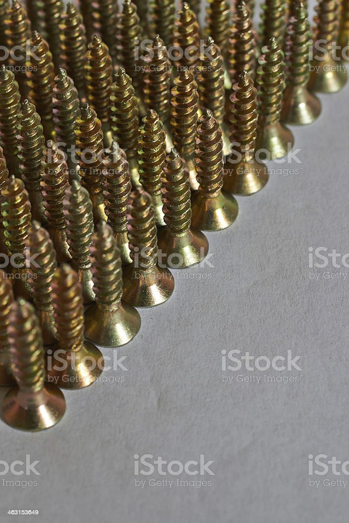 screws lined up in rows royalty-free stock photo