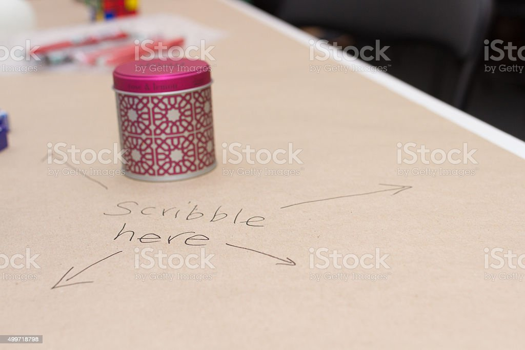 Scribble here stock photo