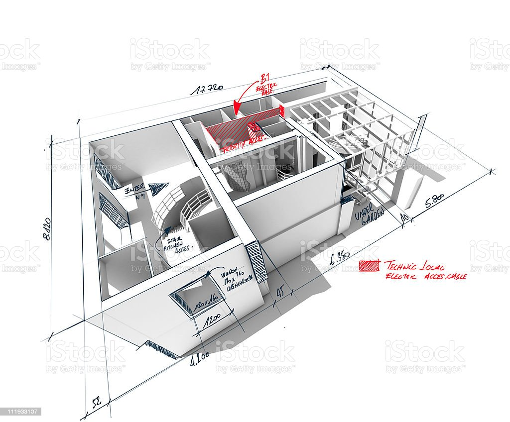 Scribbled house architecture rendering royalty-free stock photo