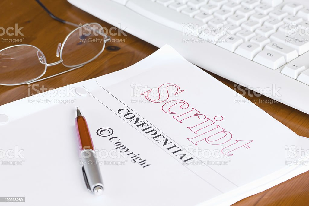 Script Screenplay on Desk with Pen stock photo
