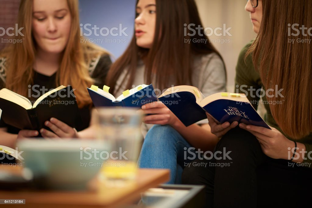 scripture group stock photo