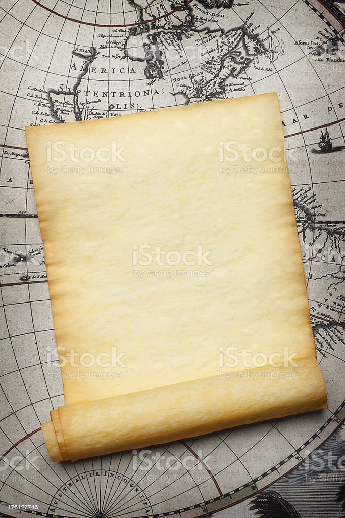 Scroll and Map stock photo