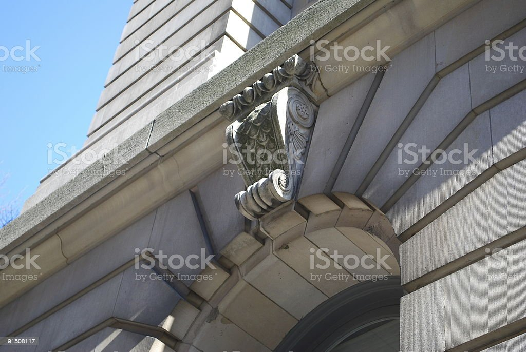 Scroll decoration on a building stock photo