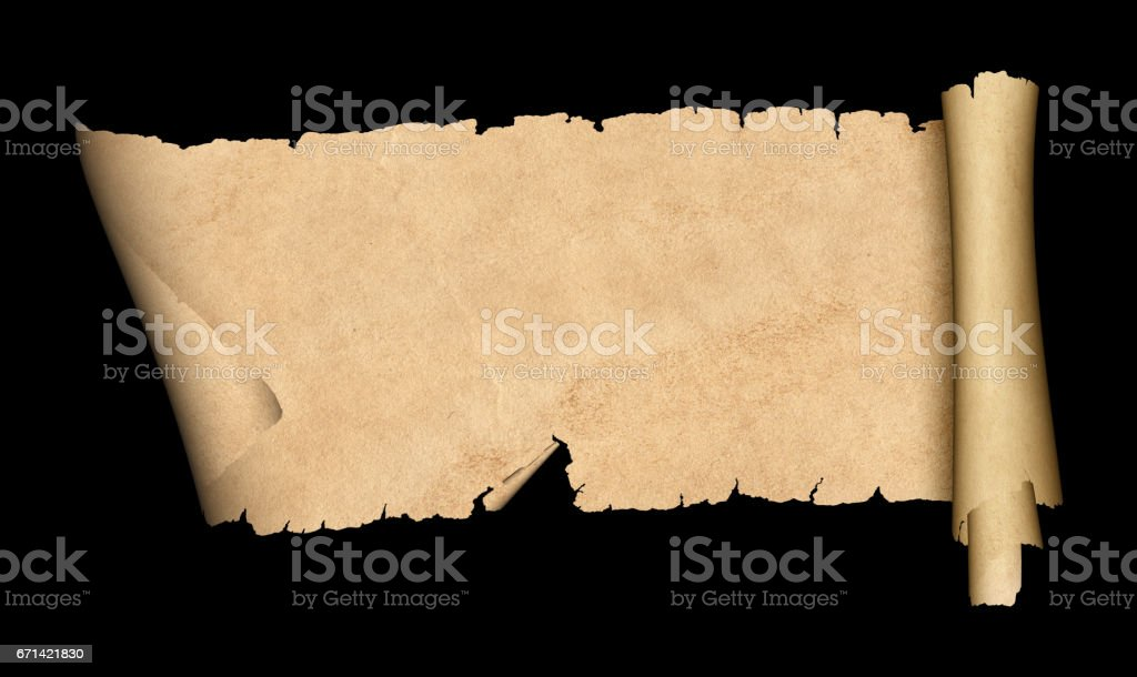 Scroll of old paper on black background. stock photo