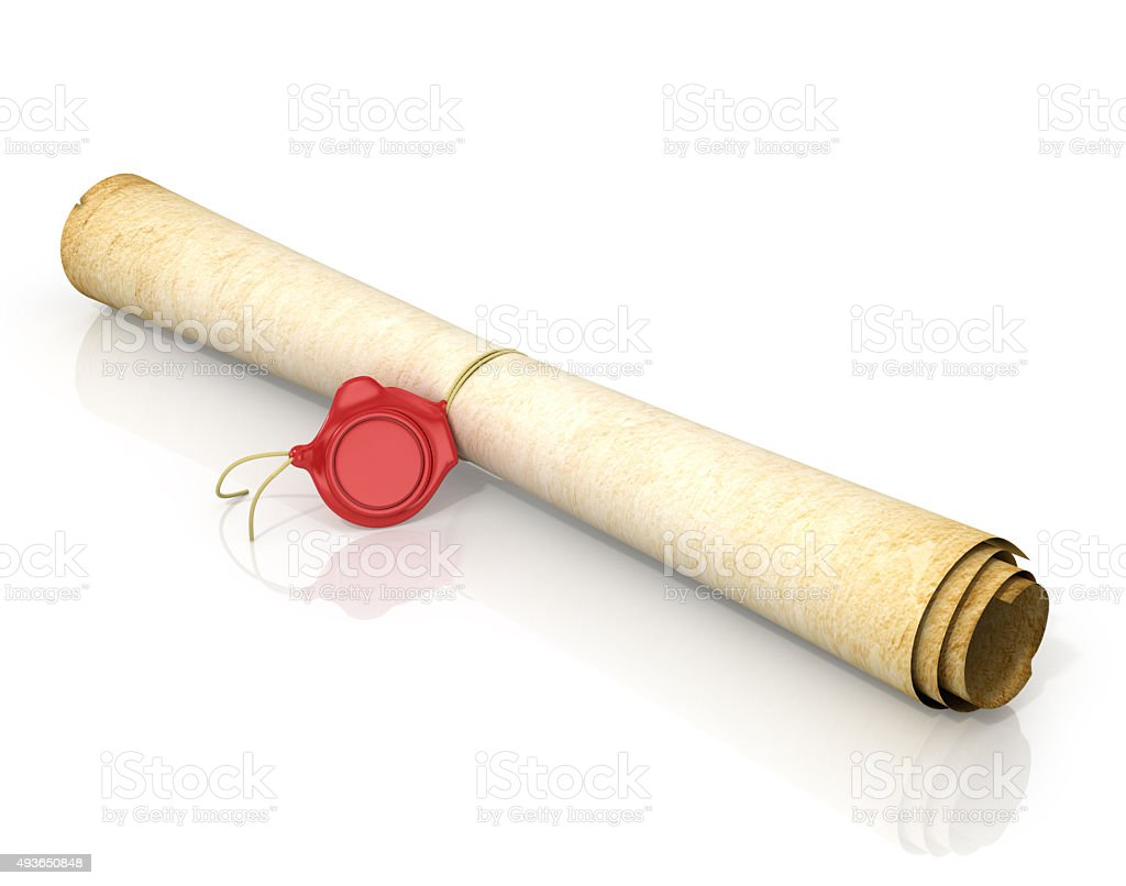 Scroll of old yellowed paper with a wax seal stock photo