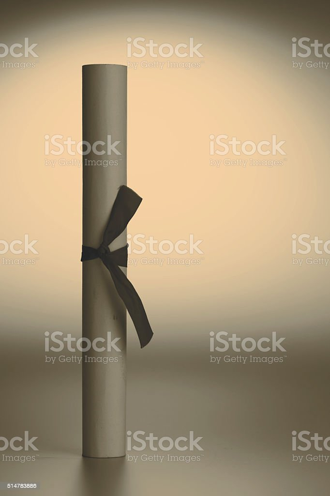 scroll of paper - certificate or diploma stock photo