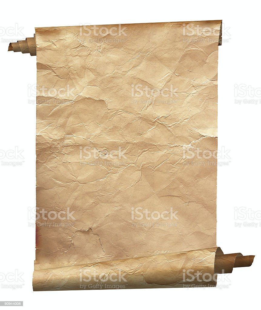 Scroll of vintage paper on white background royalty-free stock photo