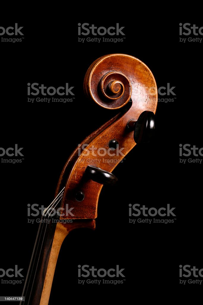 A scroll on the end of a cello  stock photo
