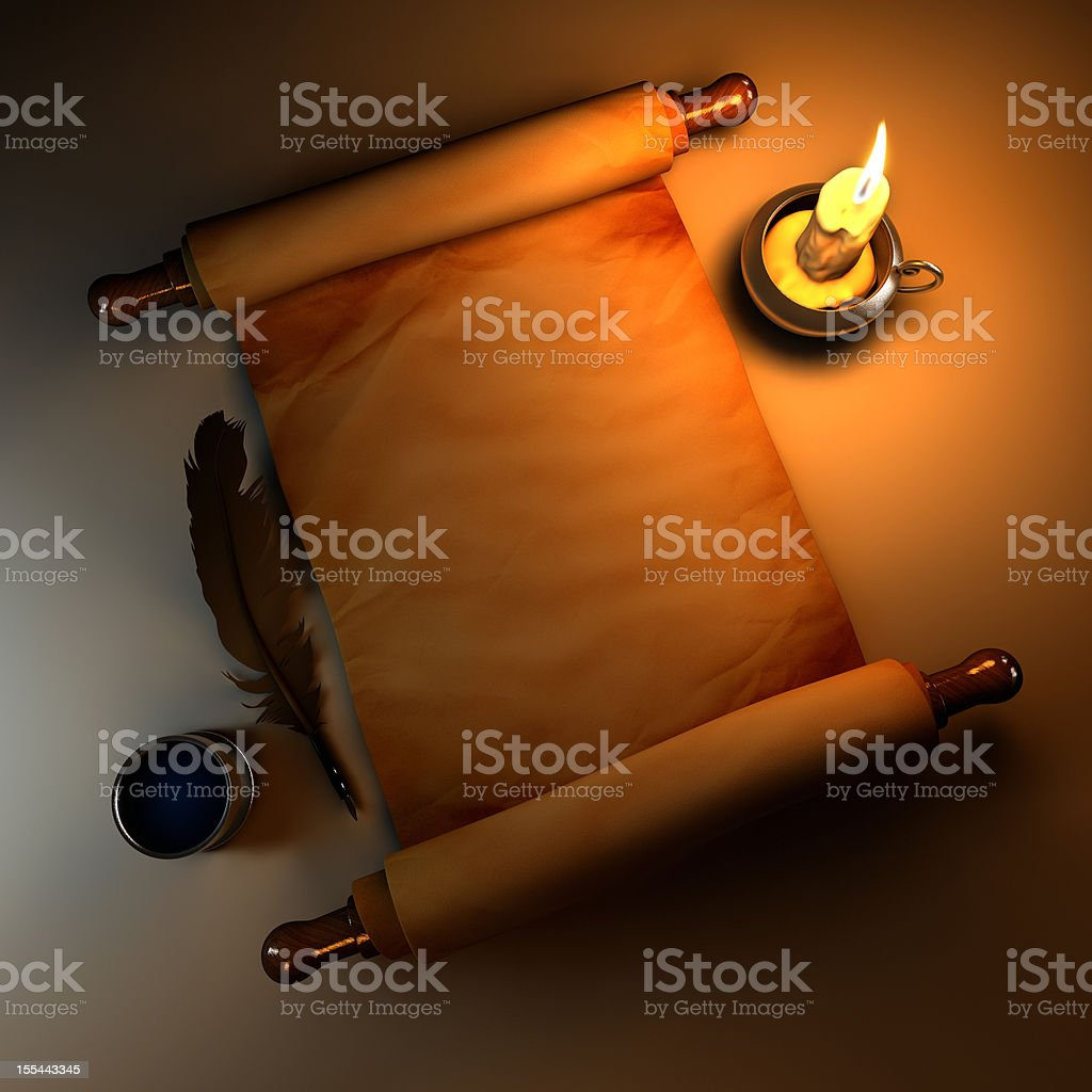 Scroll with Candle Light vector art illustration