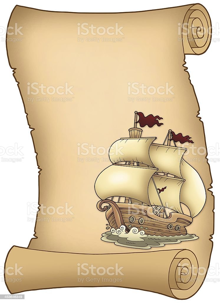 Scroll with old sailboat royalty-free stock photo