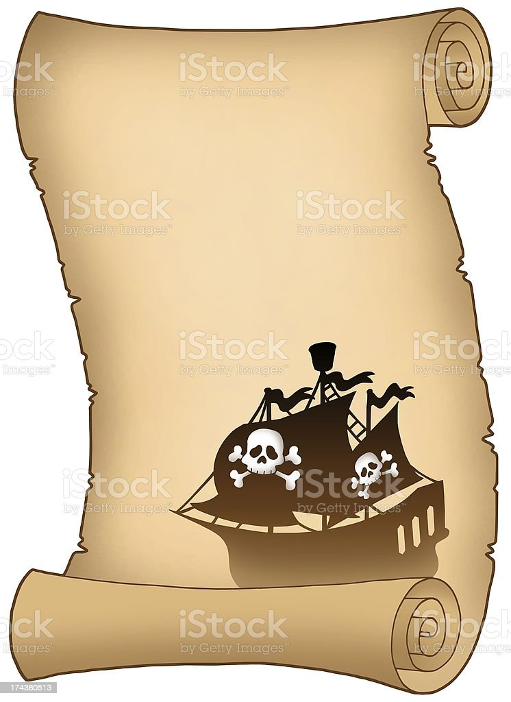 Scroll with pirate ship silhouette royalty-free stock photo