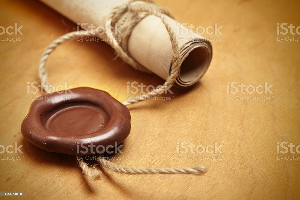 Scroll with wax seal stock photo