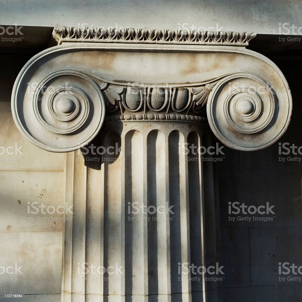 Scrolled stone column royalty-free stock photo