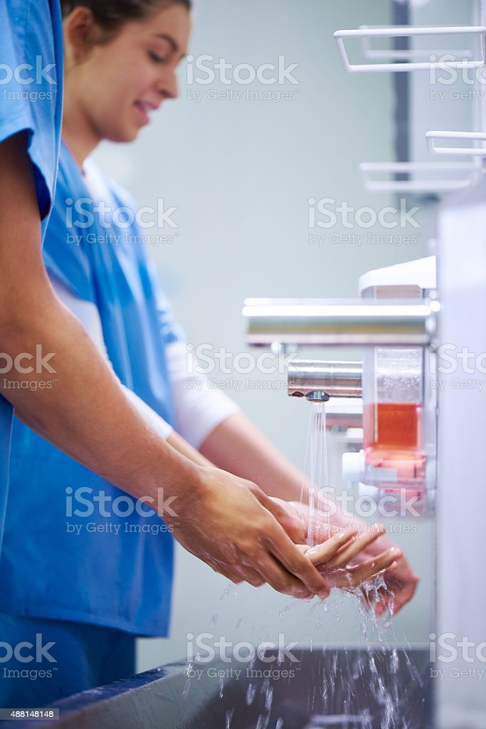 scrubbing up stock photo