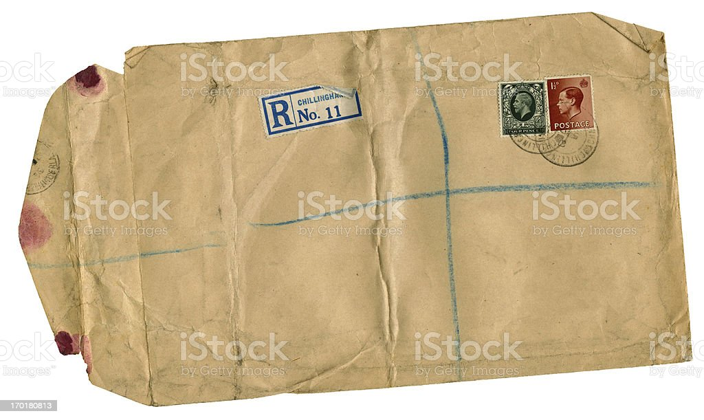 Scruffy old British registered envelope from 1936 royalty-free stock photo