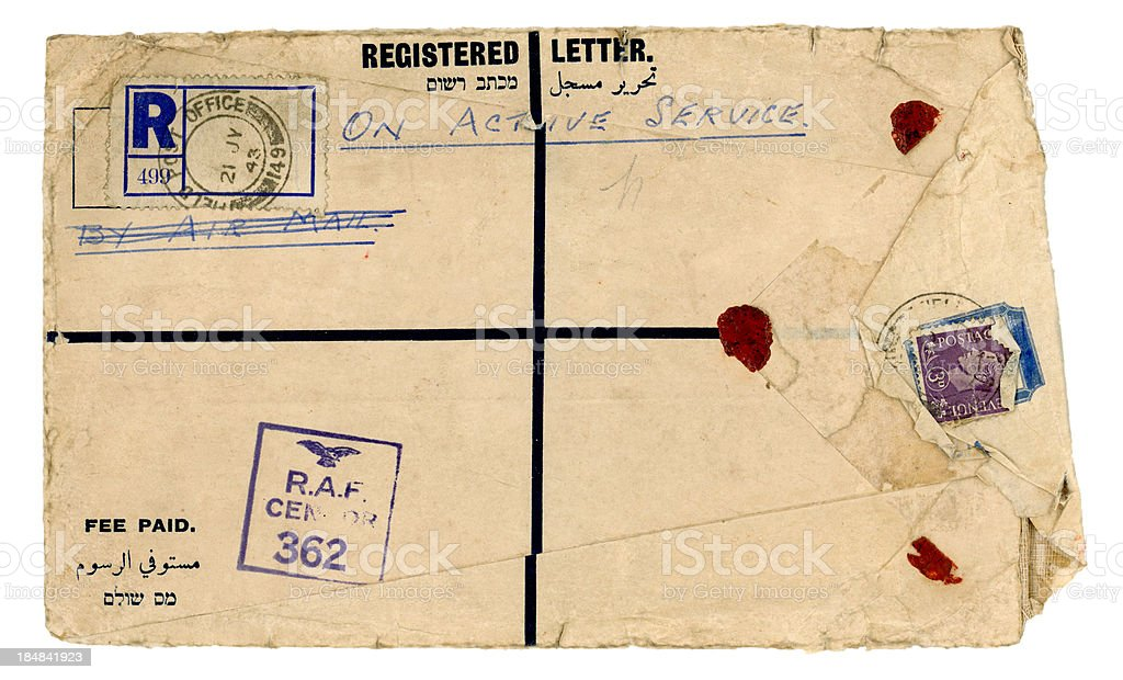 Scruffy registered envelope 'On Active Service' 1943 stock photo