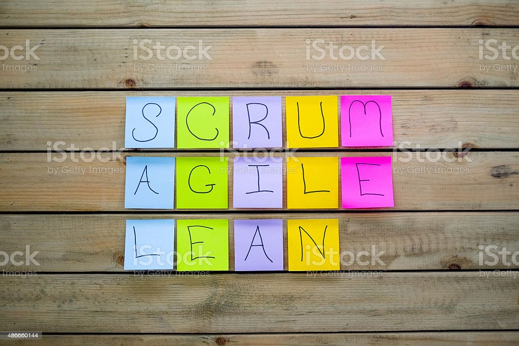 Scrum Agile & Lean Sticky Notes stock photo