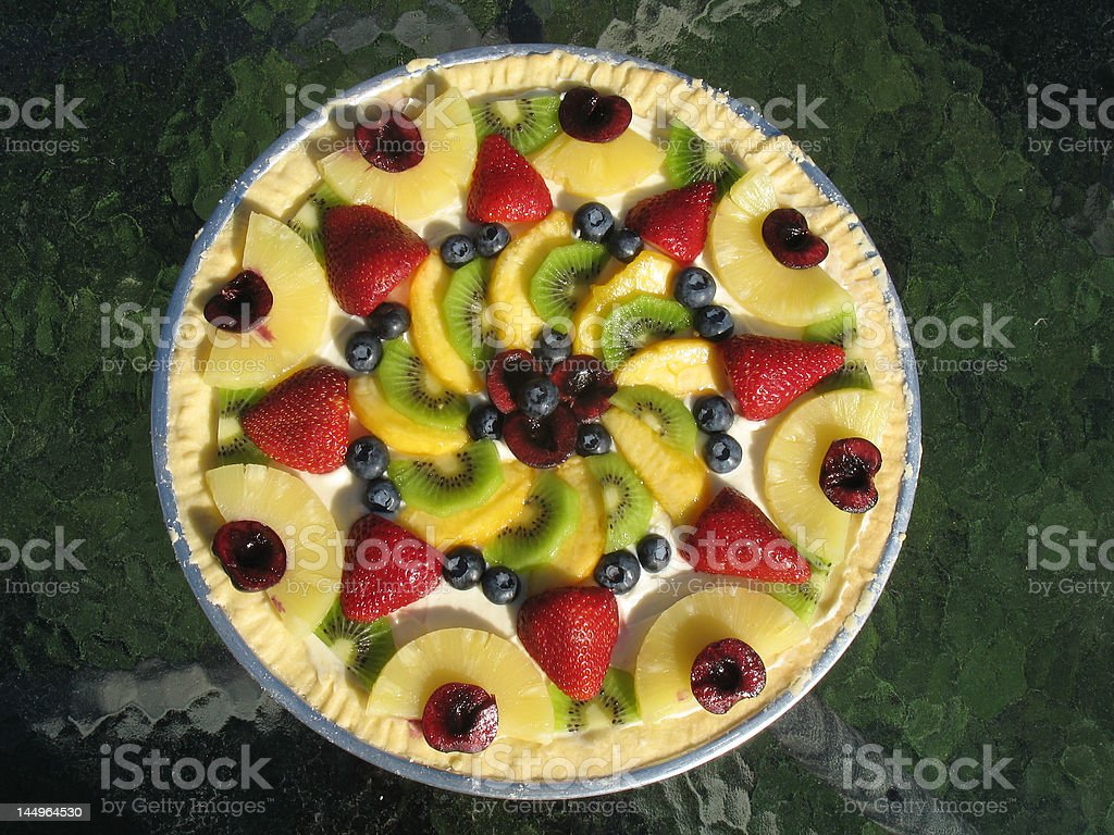 Scrumptious Fresh Fruit Pizza stock photo