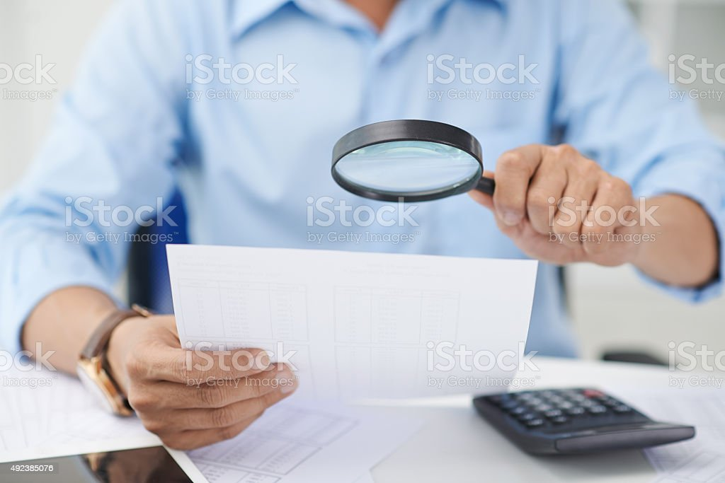 Scrutinizing exam stock photo