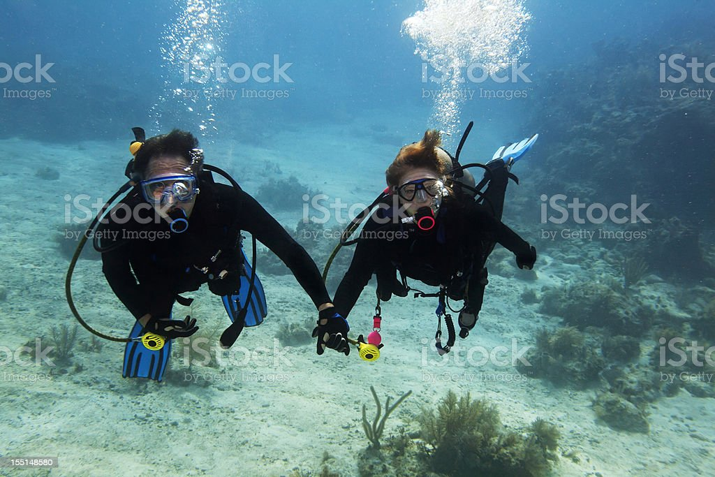 Scuba buddy diving stock photo